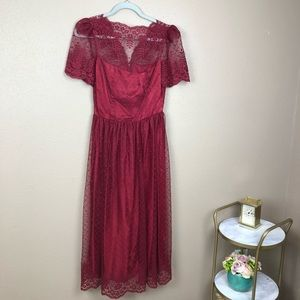 Stunning vintage red lace dress